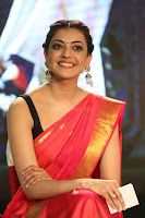 Kajal Aggarwal in Red Saree Sleeveless Black Blouse Choli at Santosham awards 2017 curtain raiser press meet 02.08.2017 065.JPG