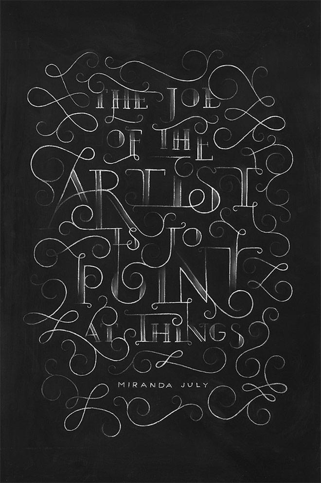Inspirasi desain tipografi terbaik dan terbaru - Miranda July Chalkboard by DANGERDUST