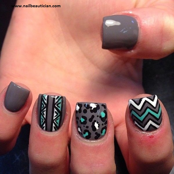 grey design for short nails