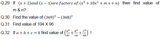 Important Questions for Polynomials ,constant,variable,algebraic expression,methods of factorise,spiting methods,
