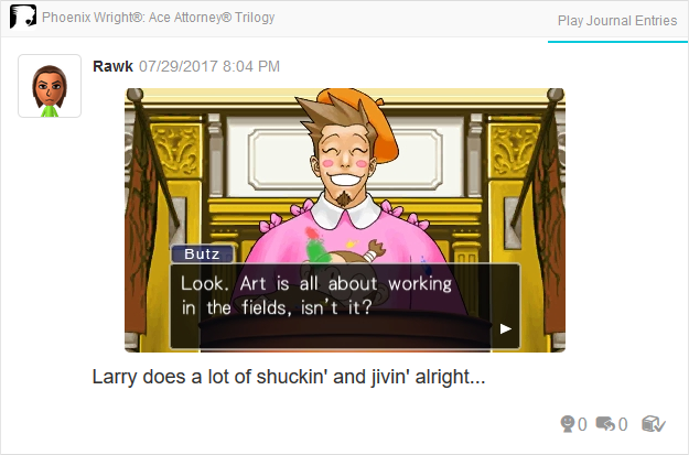 Phoenix Wright Ace Attorney Trials and Tribulations Larry Butz art working in the fields