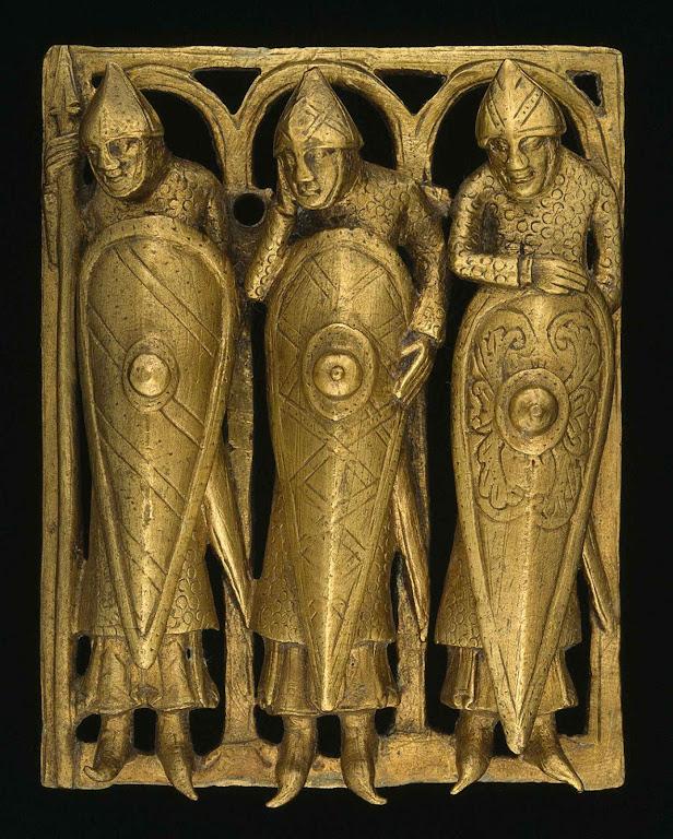 Placa de bronze do século XII com três cavaleiros Templários das origens da Ordem. Burrell Collection, Glasgow, Escócia.
