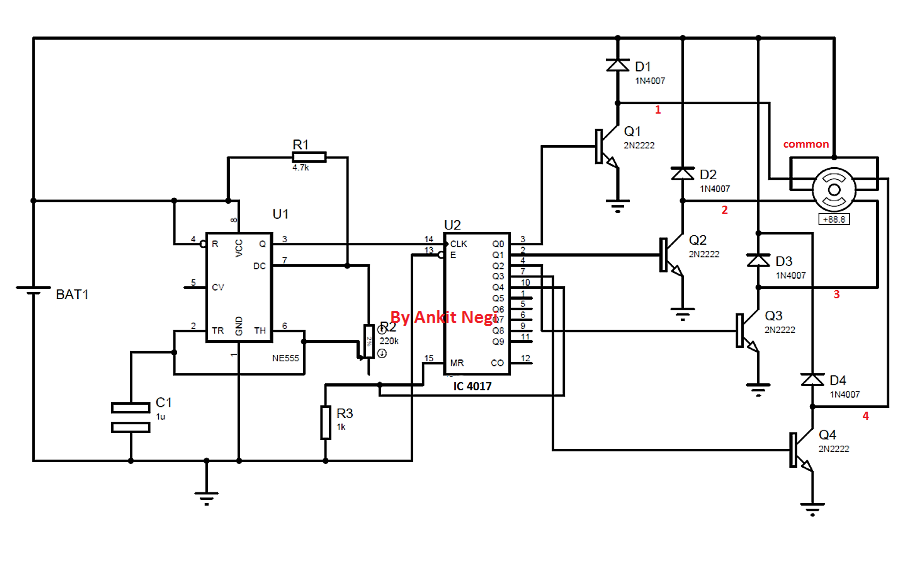 Driving Unipolar Stepper Motor using IC 555 Timer