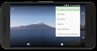 Presentación diapositivas en Google Fotos