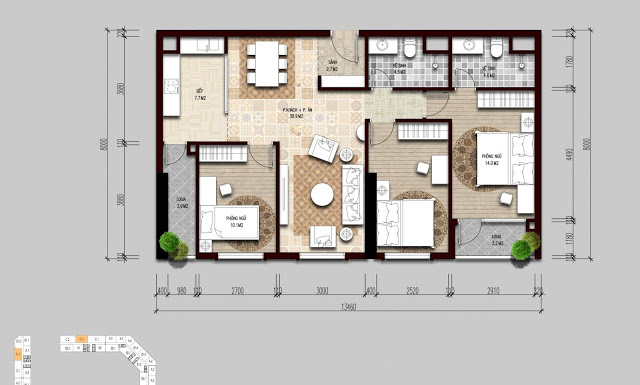 Thiết kế điển hình căn hộ 3 ngủ tại The Emerald