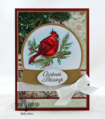 Our Daily Bread Designs Stamp Set: Winter Cardinal, Custom Dies: Stitched Ovals, Snow Globe, Paper Collection: Christmas 2017