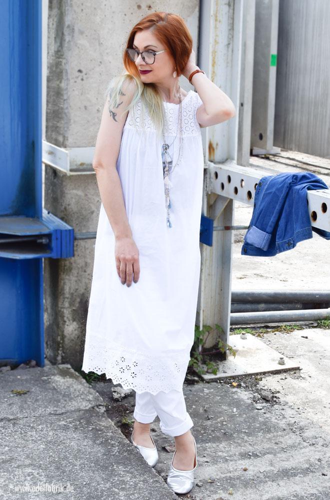 Nachthemd als Kleid tragen, weiße Bio Baumwolle