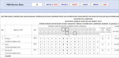 Aplikasi Excel Form Perhitungan Lembur