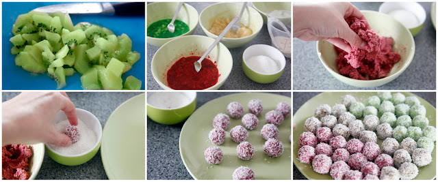 Step-by-step making fruit truffle Christmas dog treats