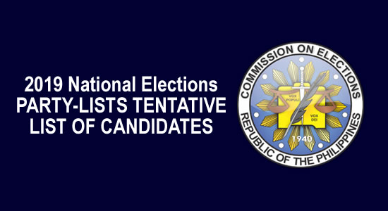 LIST: Tentative Candidates for National Positions - PARTY-LISTS