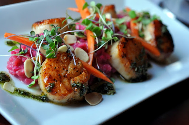 Seared Diver Scallops - Two Rivers Brewing Company - Easton, PA | Taste As You Go