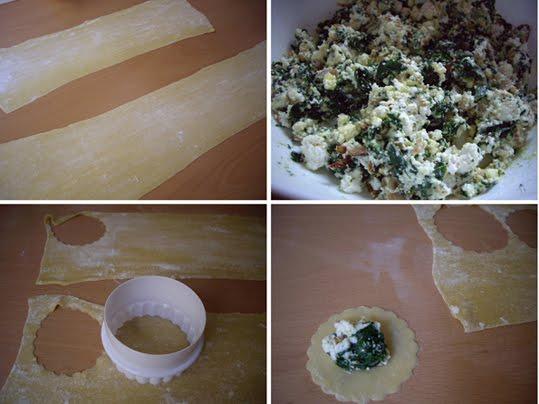 raviolis rellenos de requesón y espinaca