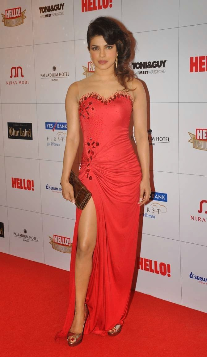 Priyanka Chopra's Sexy Red Dress at Hello! Hall of Fame Awards