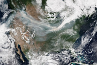 Smoke over the United States seen by Suomi NPP satellite
