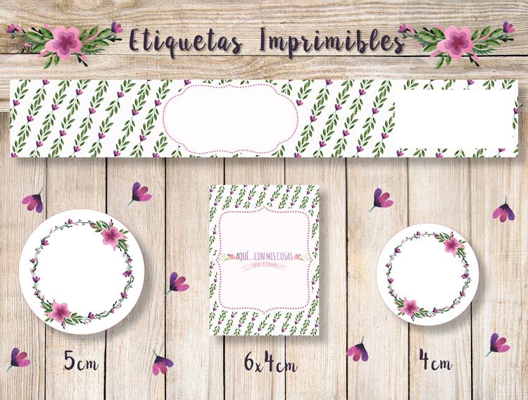 Etiquetas descargables gratis con flores pequeñas