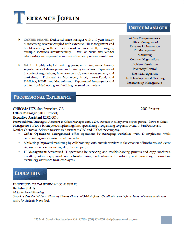sample resume for office manager in dental office office manager resume sample - Resume Format For Administration Manager