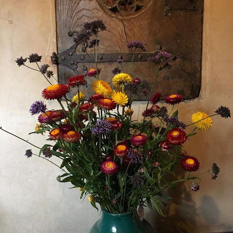 Flores frescas en jarrón en Great Dixter