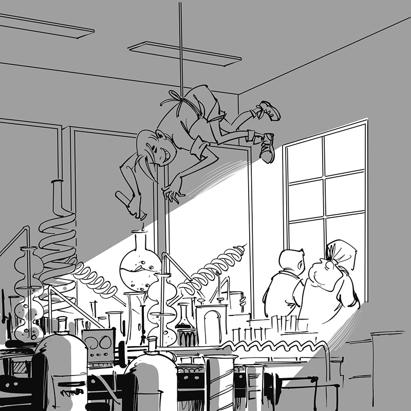 kid's children's picture book black and white line drawing illustration brother and sister in school science laboratory