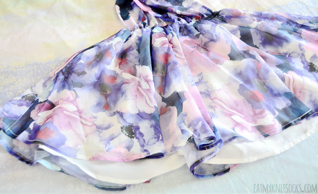 Details on the convertible chiffon purple floral sleeveless romper from SheIn.