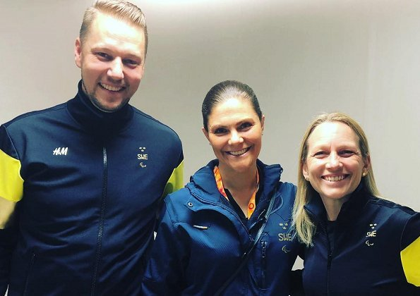 Crown Princess Victoria of Sweden watched an ice hockey match played between Sweden and Japan