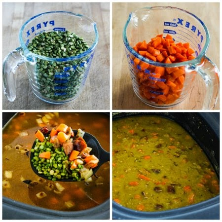 Slow Cooker Split Pea Soup with Chicken Sausage and Carrots found on KalynsKitchen.com