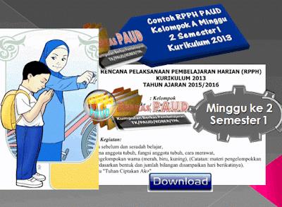 Contoh RPPH PAUD Kelompok A Minggu 2 Semester 1 Kurikulum 2013