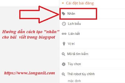 Hướng dẫn cài đặt nhãn trong blogspot