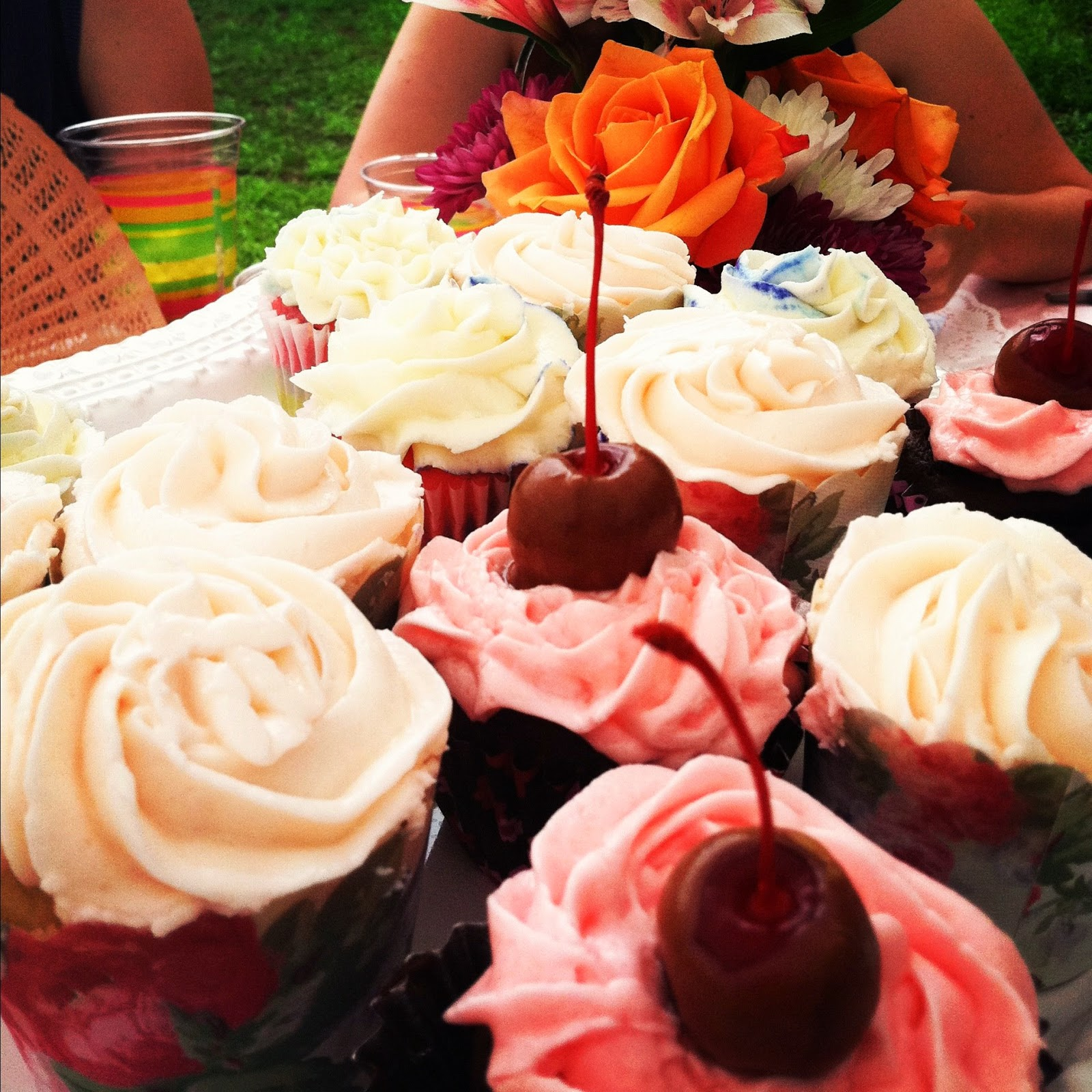 cherry cupcakes and pink champagne cupcakes at my 18th century bridal shower