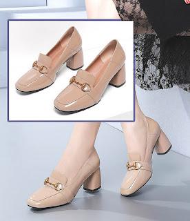 Sepatu model chunky bit loafers untuk wanita berkaki besar