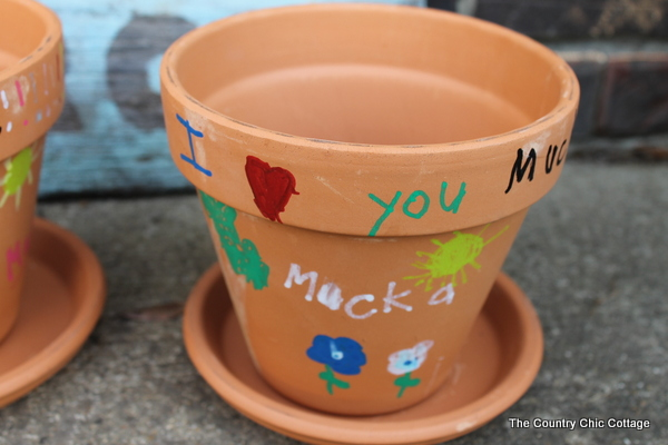 hand painted flower pots for mothers day