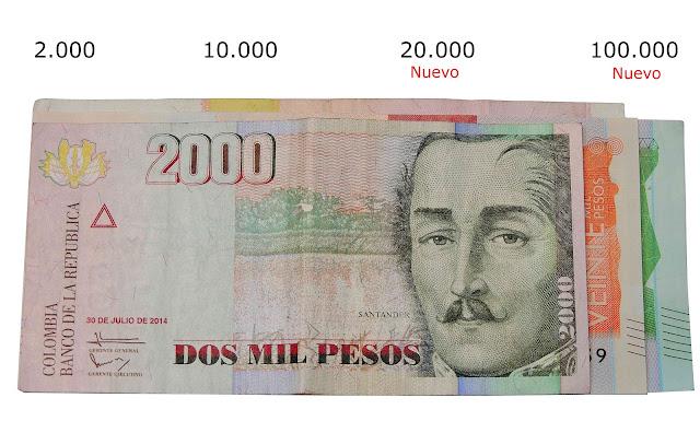 billetes colombianos diferente medida 100.000 pesos