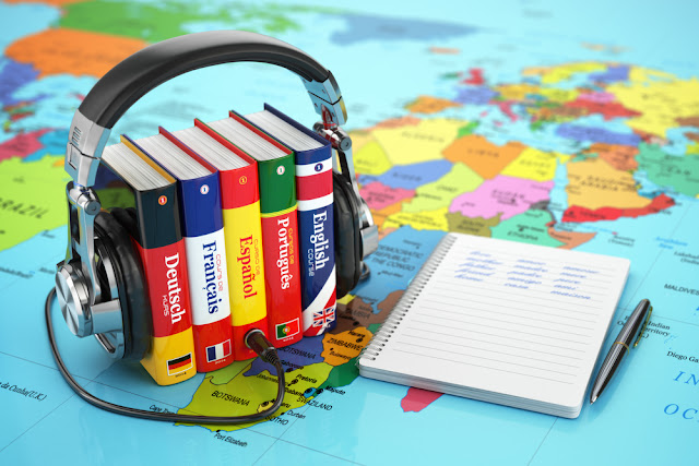 Language books for learning English, Spanish, French, German, Portuguese