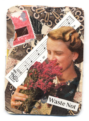 hand cut paper collage artist trading card