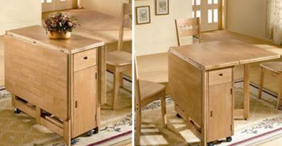 Giới thiệu mẫu bàn ăn gấp bằng gỗ Tùng dành cho nhà nhỏ