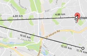 Google Maps distance measurement.