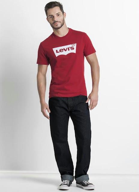 Camiseta Levis Vermelha e Calça Levis Masculina Jeans
