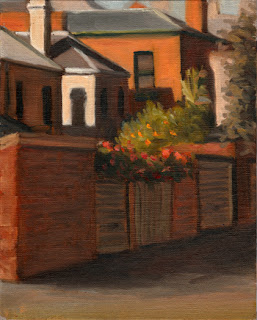Oil painting of garage doors and the backs of several Victorian-era double-storey houses.