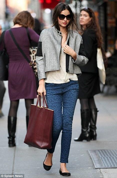 Miranda Kerr Flaunts Blue Leopard Print Jeans In New York