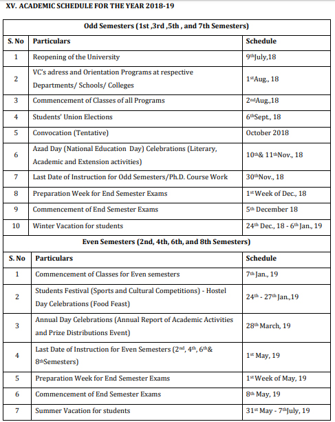 MANUU ACADEMIC SCHEDULE FOR THE YEAR 2018-19