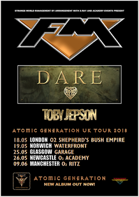 FM - Dare - Toby Jepson - Atomic Generation UK tour 2018 - poster