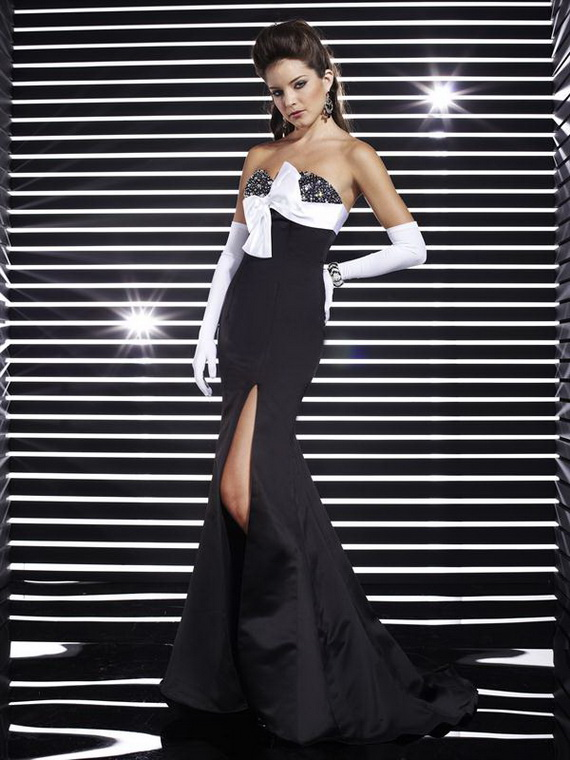Fashion Black And White Prom Dresses 2012