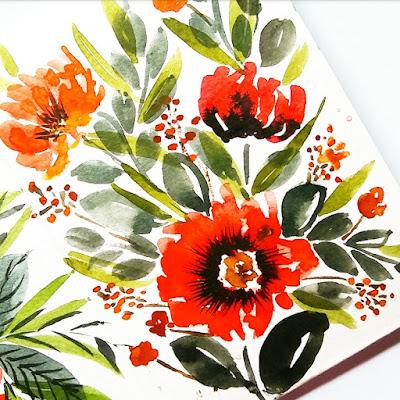 contoh artzine bunga menggunakan cat air