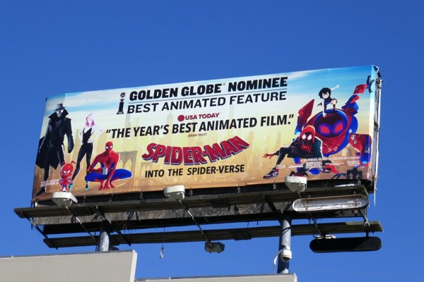 Spider-Man Into Spider-Verse Golden Globe nominee billboard