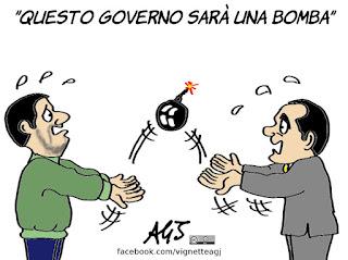 di maio, salvini, governo bomba , politica, satira, vignetta