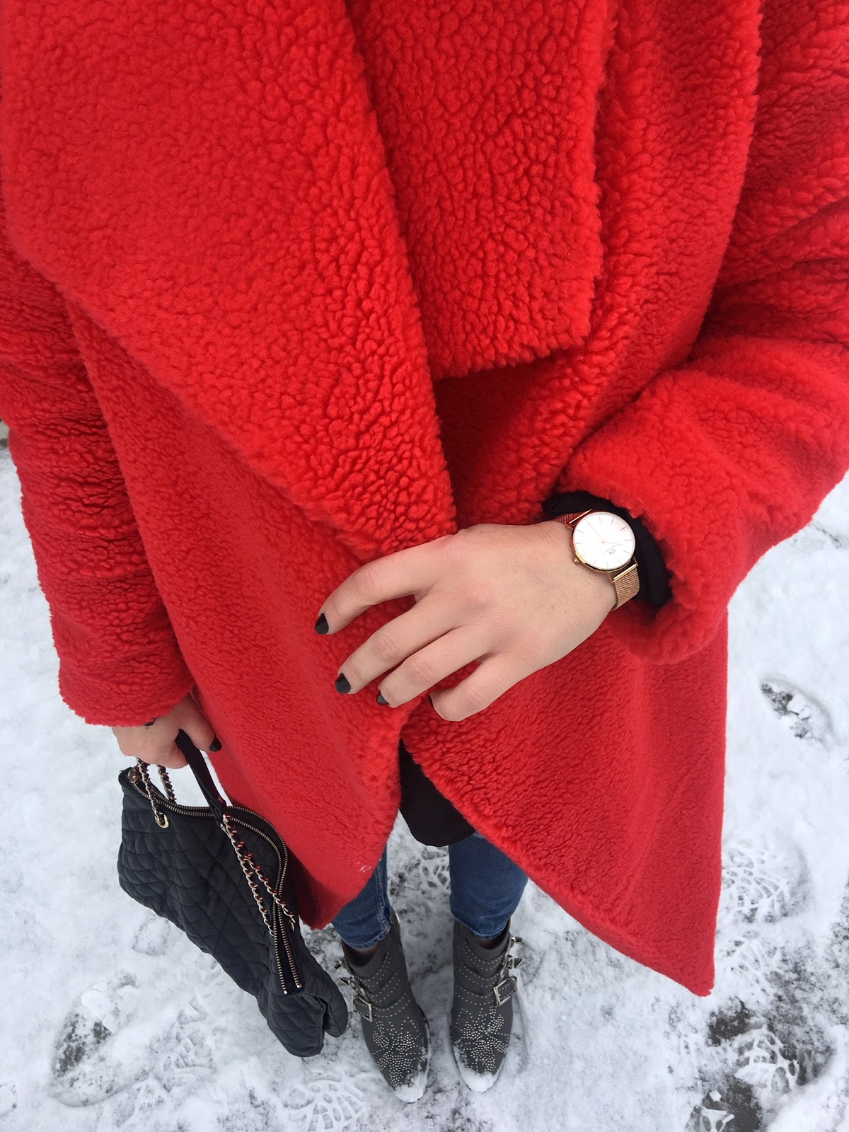 the best red teddy coat for winter