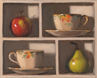 Still life oil painting of two teacups, an apple and a pear, displayed in independent pigeonholes.