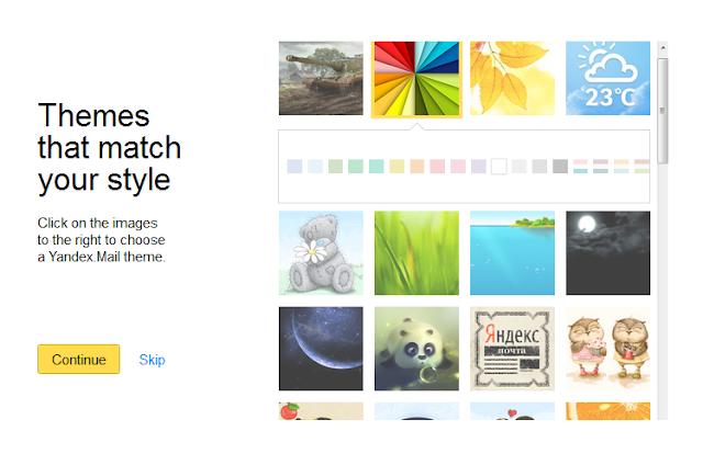 Yandex.Mail Dengan Berbagai Macam Pilihan Themes