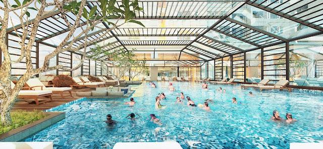 Bể bơi 4 mùa với không gian rộng ở tầng 2