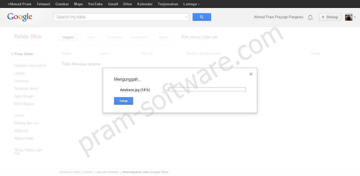 Proses Unggah Di Google Sites
