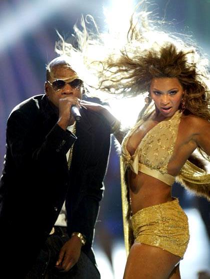Foto de Jay-Z cantando junto a Beyoncé